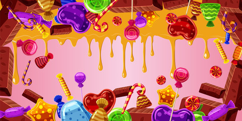 Chocolate factory banner horizontal, cartoon style