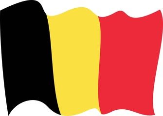 waves Flag of Belgium-Waving flag of Belgium. Vector illustration of 3D icon with black, red and yellow colors.