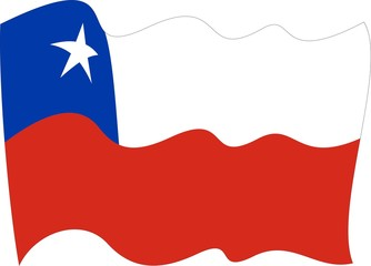waves Flag of Chile-Chile 3D flag waving form on gray background. Vector illustration.