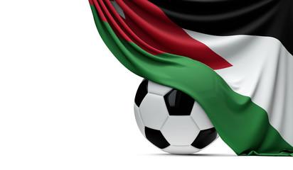 Jordan national flag draped over a soccer football ball. 3D Rendering