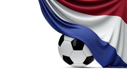 Netherlands national flag draped over a soccer football ball. 3D Rendering