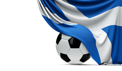 Scotland national flag draped over a soccer football ball. 3D Rendering