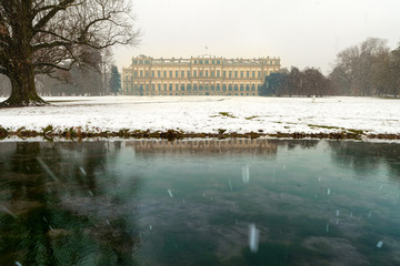 Late winter snowfall on the Park of Monza and its famous Royal Villa, Monza, Italy