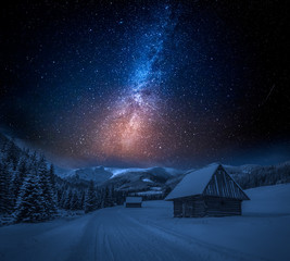 Fototapete - Milky way and snowy footpath at night in Tatra Mountains