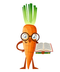 Carrot mascot. Cartoon carrot with glasses holds book. Learning concept. Vector illustration isolated on white background. Web site page and mobile app design