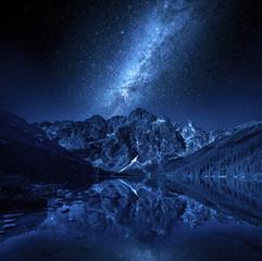 Fototapeten Gebirge Mountains lake and milky way at night, Poland, Europe