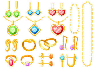 Set of golden jewelry. Golden rings, earrings, chains, and necklaces collections. Cartoon jewelry accessories. Vector illustration isolated on white background