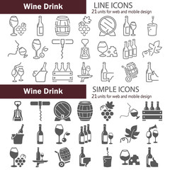 Simple and line wine icons set