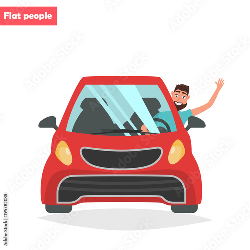 Happy Man Is Driving A Car Color Flat Illustration