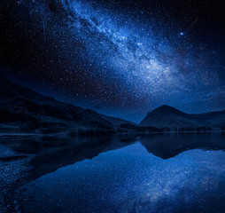 Milky way and stars reflection in lake, District Lake, England
