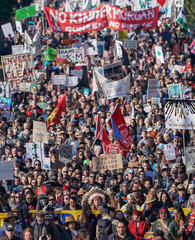Indigenous leaders and environmentalists march in protest against Morgan's Trans Mountain pipeline in southern B.C., in Burnaby