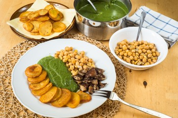 Vegetarian lunch with chickpeas,spinach,mushroom and potato.