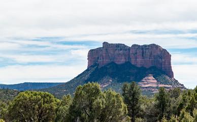 Park overlooking sandstone red rock