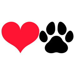 Heart symbol and a paw print silhouette, isolated.