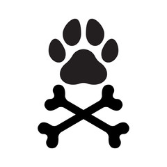 Paw print silhouette with crossed bones, isolated.