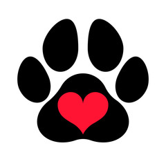 Black silhouette of a paw print with a heart symbol inside, isolated.