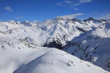 Landscape at Ski Resort in Arlberg Mountains. Austria