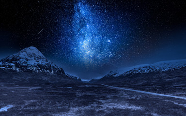 Fototapete - Milky way and highlands in Scotland at night