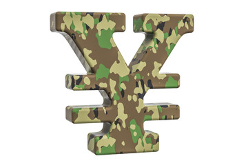 Camouflage army yen or yuan symbol, 3D rendering