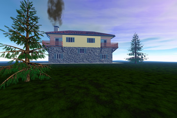 House on coniferous trees, grass on the ground, smoke in the chimney and a colored sky.