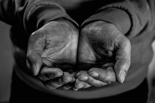 Closeup dirty males hands of poor man