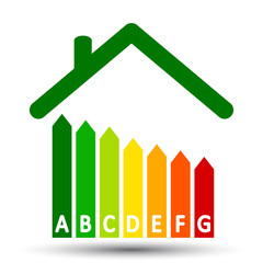Energy efficient house concept with classification graph – vector for stock