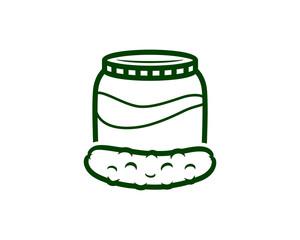 Simple Line Art Pickles Cucumber Fruits and Jars Sign Symbol Logo Vector