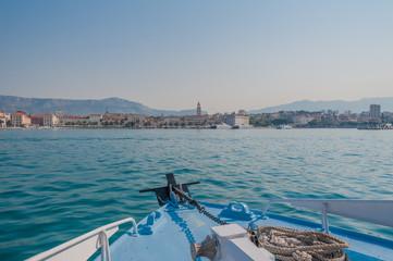 Split, Croatia. Sailing on ferry towards Split, early morning.