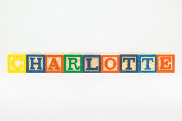 Charlotte - common girl's name in wooden alphabet blocks