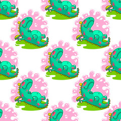 Cool Dino doodle vector pattern