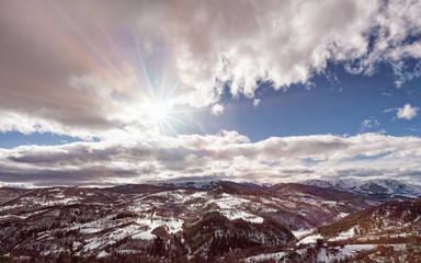 Mountain Zlatibor, Serbia at winter. Beautiful landscape in winter, a snow-covered mountain on the sunny clear day.