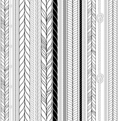 Vector Seamless Black and White Braids and Cords Background - Repeating Simple Ropes Template for Design Project