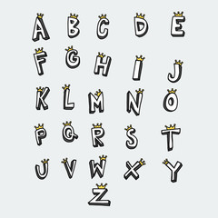 A to Z word with crown vector illustration comic style