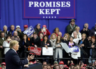 U.S. President Donald Trump speaks in support of Republican congressional candidate Rick Saccone during a Make America Great Again rally in Moon Township