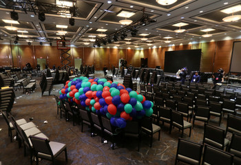Balloons for the winner are seen after results for the Progressive Conservatives leadership race were put on hold due to a ballot discrepancy in Markham