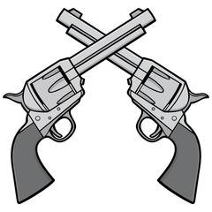 Wild West Revolvers Illustration - A vector cartoon illustration of a pair of Wild West Revolvers.