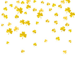Clover background for Saint Patricks Day. Lucky trefoil confetti. Glitter frame of shamrock leaves. Template for poster, gift certificate, banner. Greeting clover background.