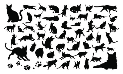 Set vector silhouettes of the cats and the paw prints - Isolated on white background 猫のベクターイラストセット