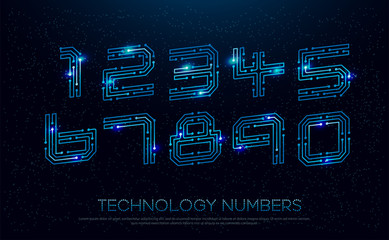 Technology digital numbers network concept. 1, 2, 3, 4, 5, 6, 7, 8, 9 colorful font. vector illustration