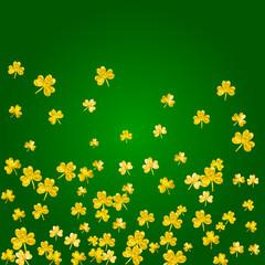 Clover background for Saint Patricks Day. Lucky trefoil confetti. Glitter frame of shamrock leaves. Template for poster, gift certificate, banner. Irish clover background.