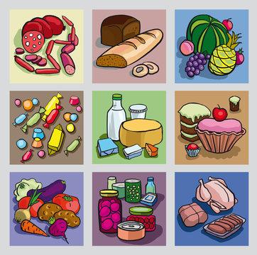 Рисованные пиктограммы в стиле мультфильмов, изображающие разные группы продуктов
