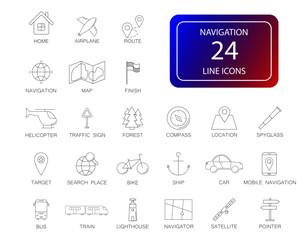 Line icons set. Navigation pack. Vector illustration
