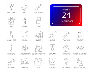 Line icons set. Party pack. Vector illustration