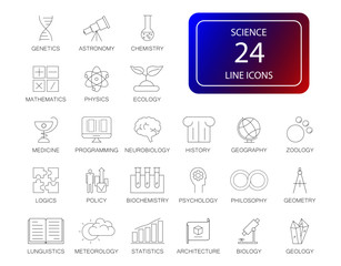 Line icons set. Science pack. Vector illustration