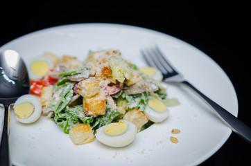 Closed up of Cesar Salad, healthy food, clean food, organic vegetables.