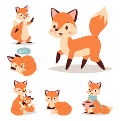 Fox character doing different foxy activities funny happy nature red tail and wildlife orange forest animal style graphic vector illustration.