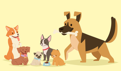 Puppy cute playing dogs characters funny purebred comic happy mammal doggy breed vector illustration.