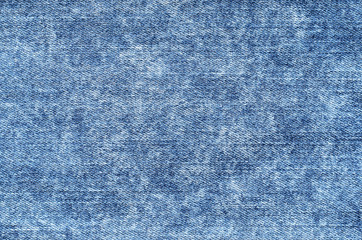 Jeans in acid wash blue. Denim background, texture, close up. Faded wash