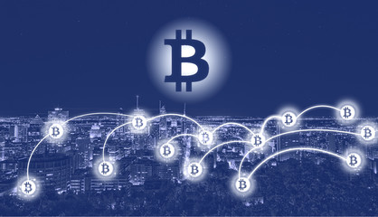 Bitcoin and blockchain technology concept. Bitcoin sign on city – Montreal. Bitcoin network with a bitcoin sign on the urban background. Blockchain, cryptocurrencies, bitcoin concept.