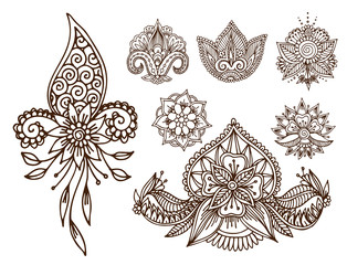Henna tattoo mehndi flower doodle ornamental decorative indian design pattern paisley arabesque mhendi embellishment vector.